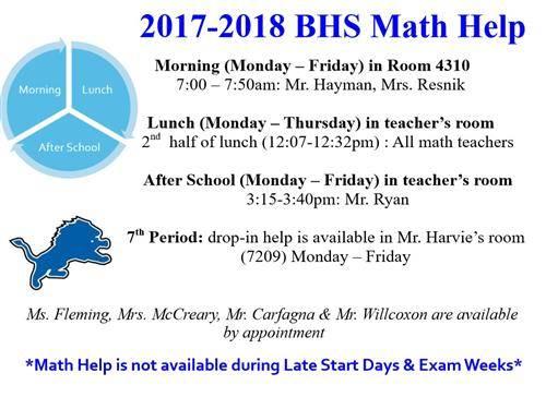 Math Help Schedule