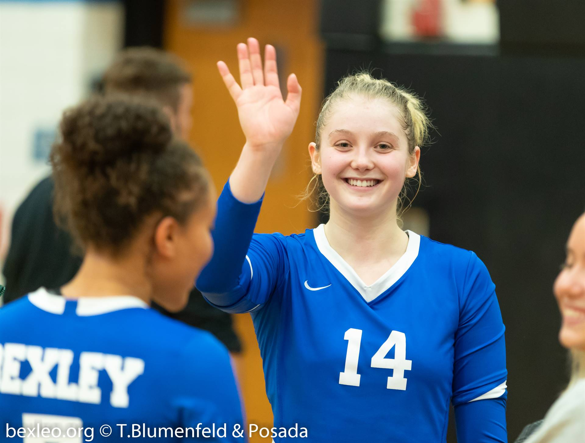 Volleyball ball player waving