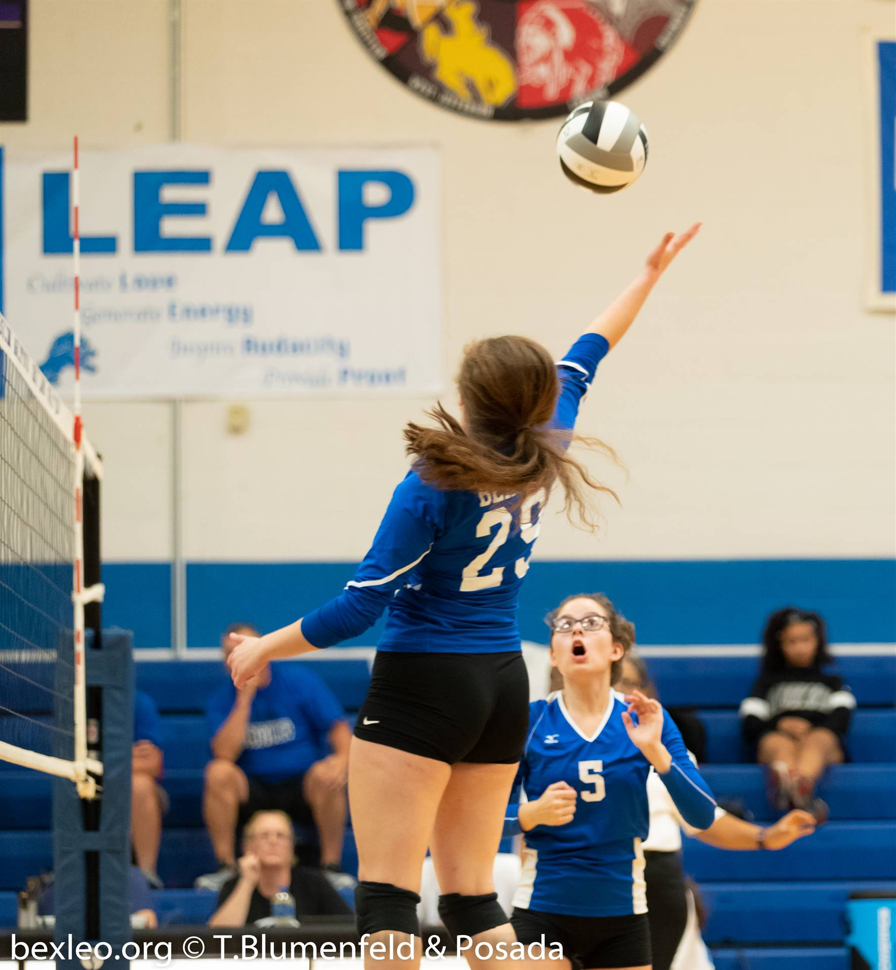 Volleyball player tapping the ball over the net