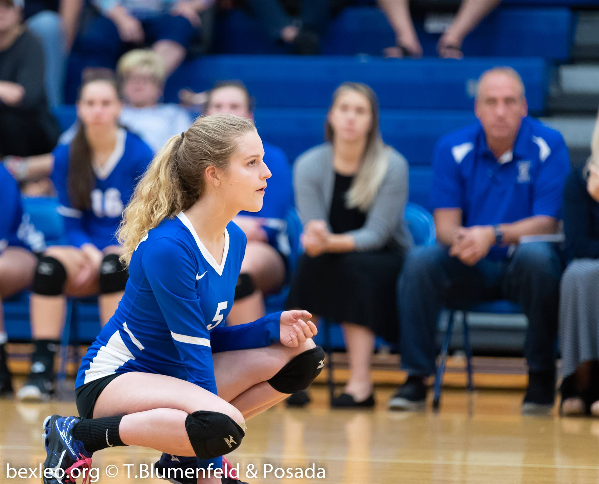 Volleyball crouching to receive a serve