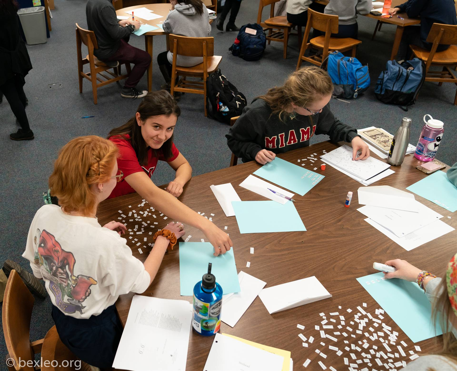 """Students """"assemble"""" poems at a Poetry Writing Workshop conducted by radiologist and Former Poet Laur"""