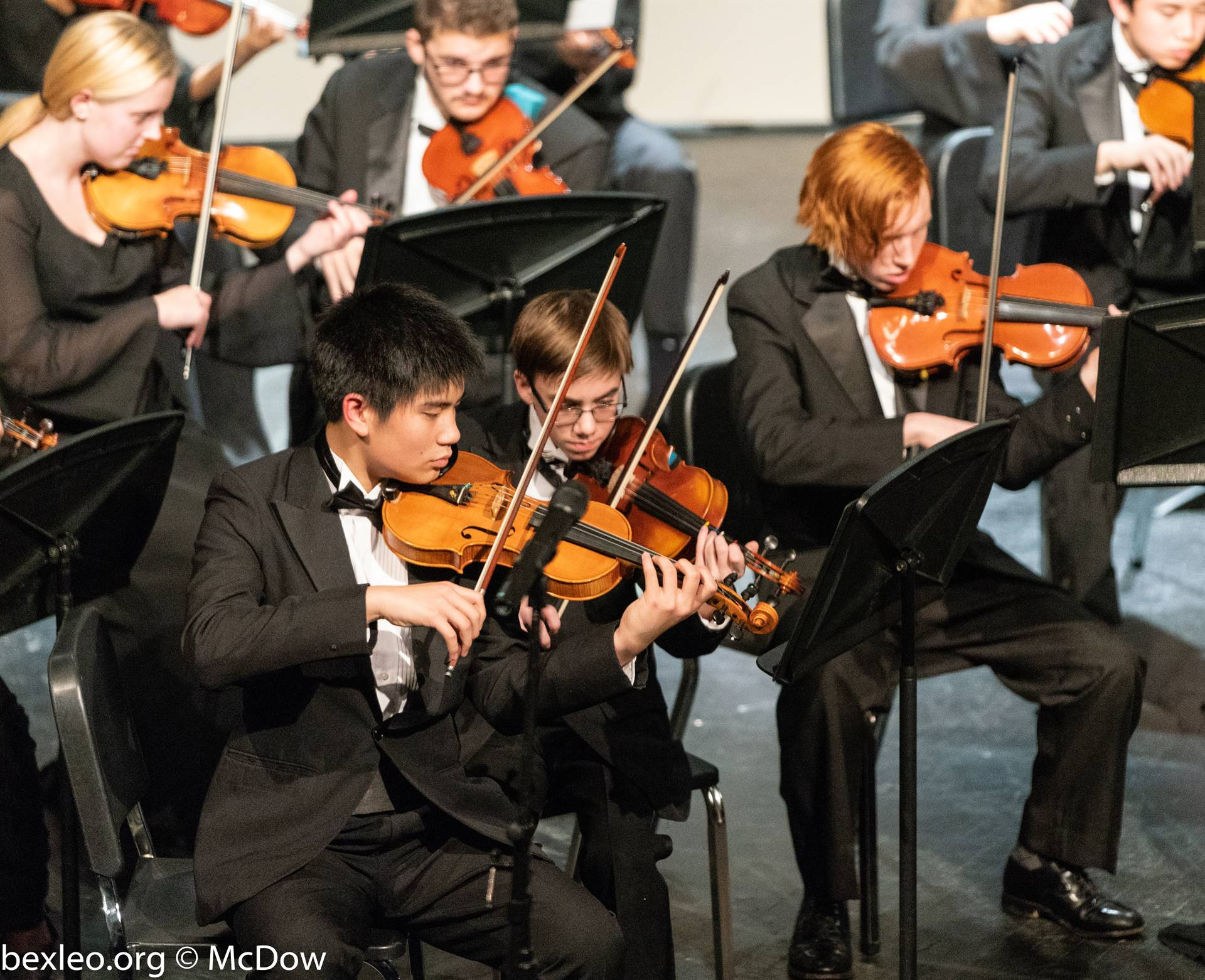Joseph Lin, Nick Rankin, and Teddy McIntyre perform in the Winter Orchestra Concert