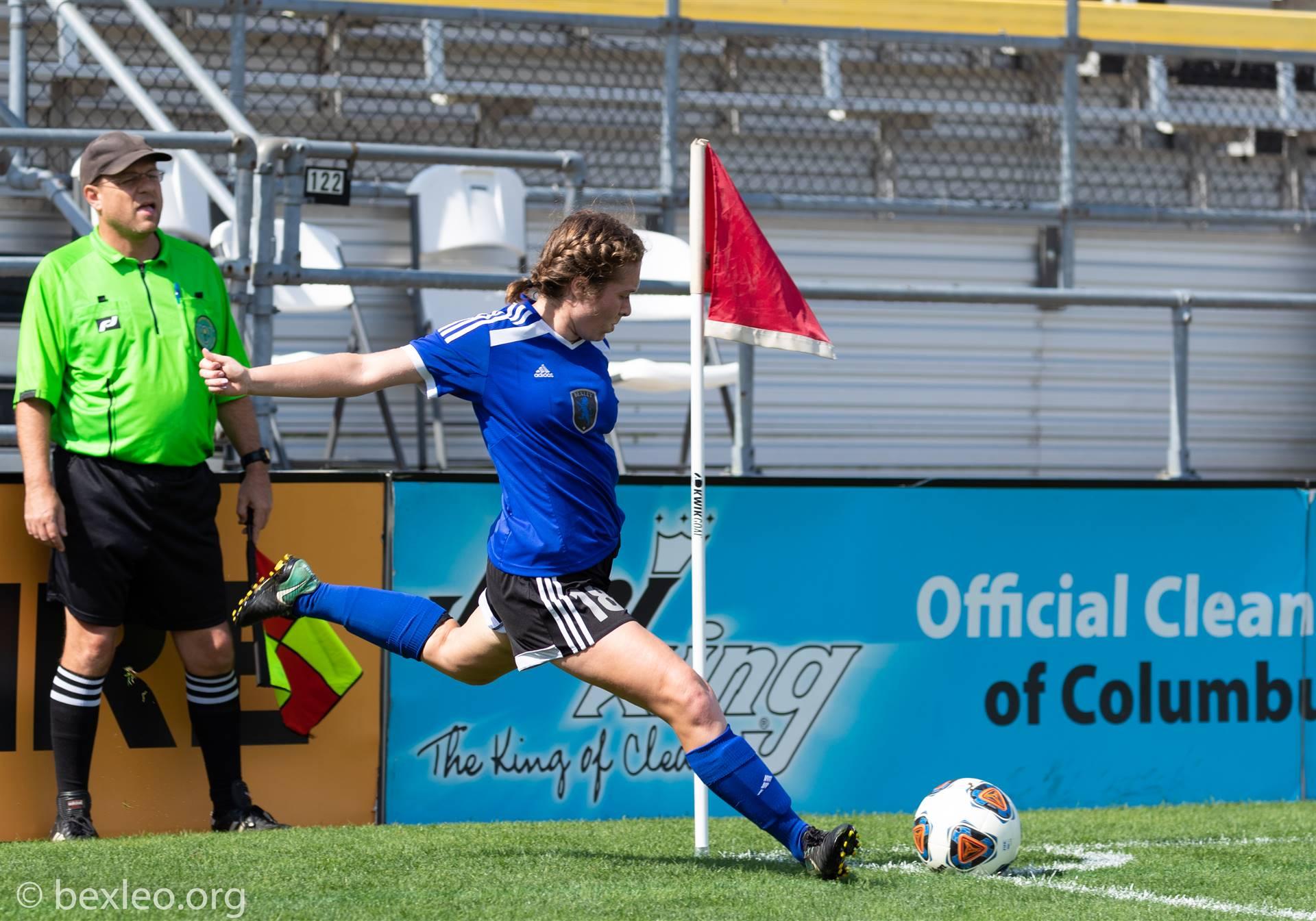 Girls Soccer Player executes a corner kick @ Crew Stadium