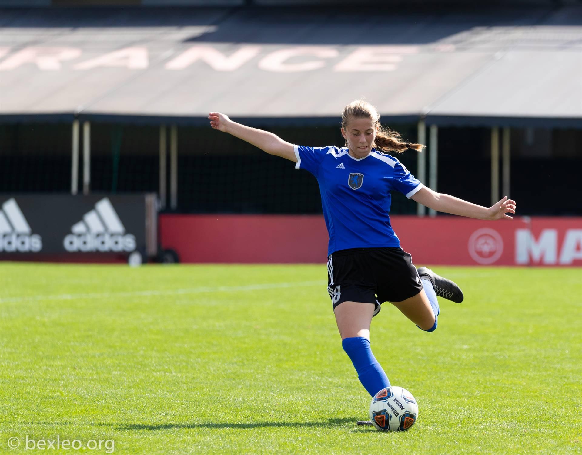 Girls Soccer Player executes a free kick @ Crew Stadium