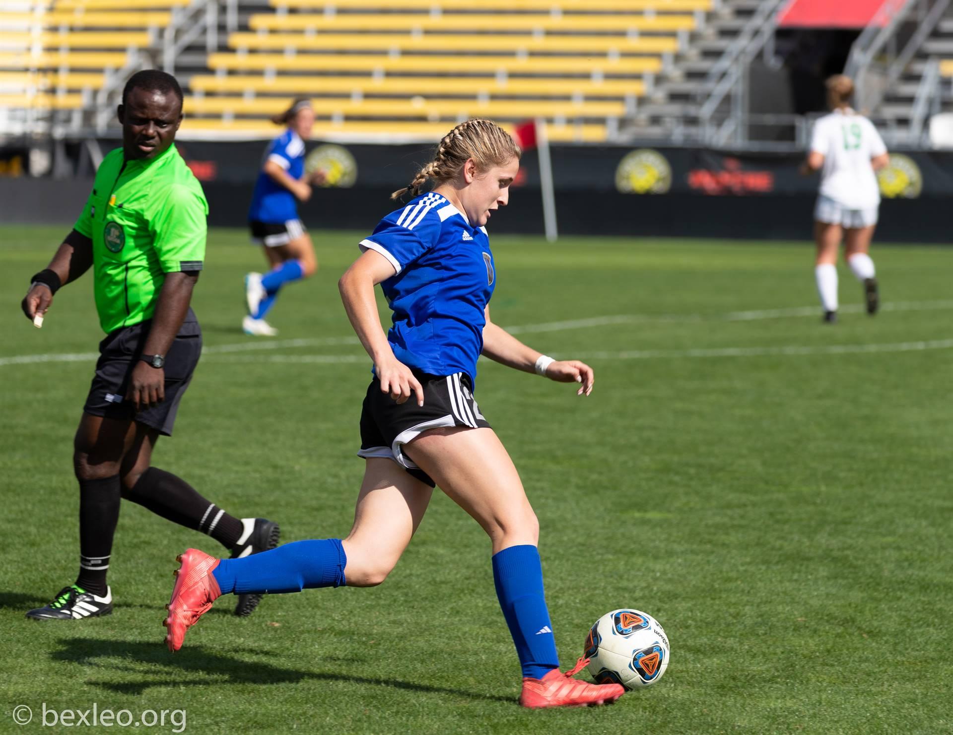 Girls Soccer Player advances the ball @ Crew Stadium